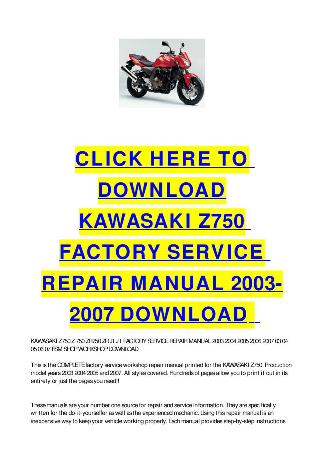Kawasaki Z750 Factory Service Repair Manual 2003 2007 Download Repair Manuals Repair Manual