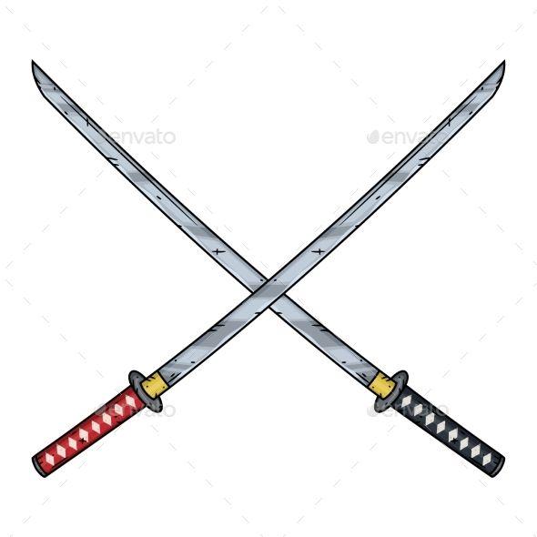 Two Crossed Katanas Japanese Dragon Tattoos Katana Sword Tattoo