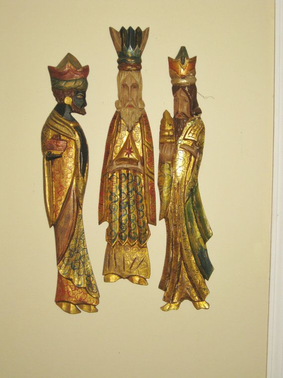 Large Carved Wood Three Wise Men Gold Gilt Wall Hangings Tall Mexican Folk Art Wooden Christmas Nativity Figur Mexican Folk Art Three Wise Men Wood Carving