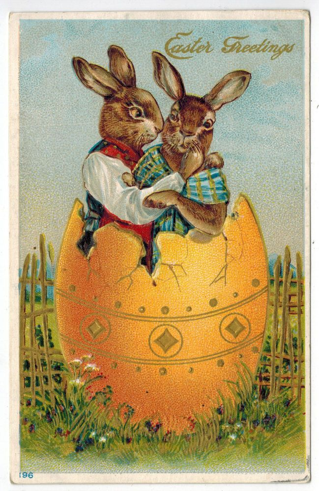 Antique Easter Fantasy Postcard Humanized Dressed Bunny Rabbit Couple Cuddle EMB #Easter