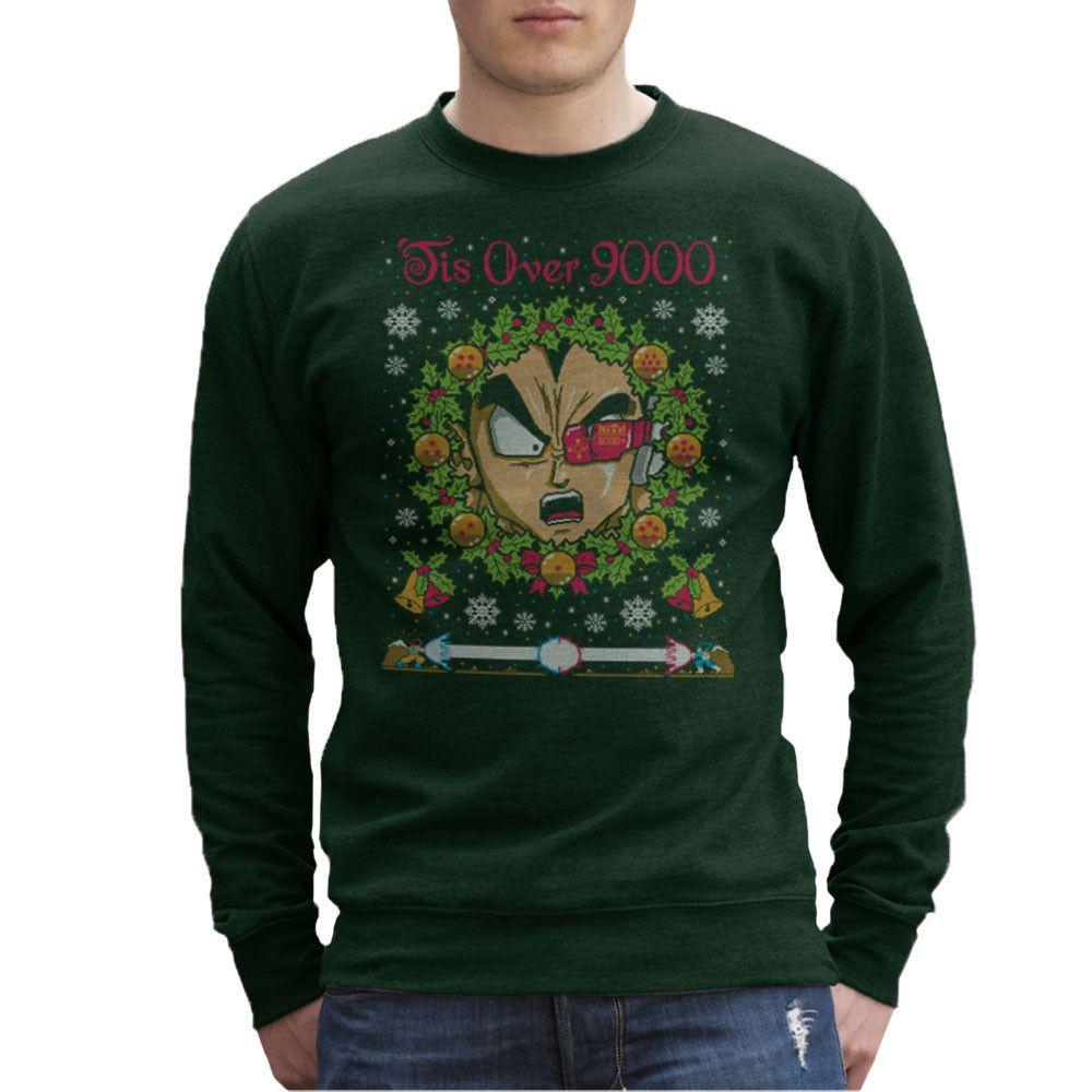 5aeccb285a0 Tis Over 9000 Vegeta Dragon Ball Z Christmas Jumper Pattern Men's ...