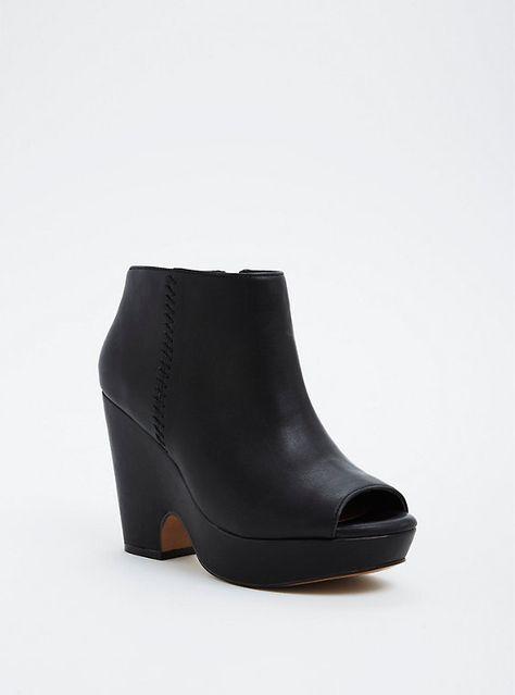 b3cb176caa84 Plus Size Peep Toe Wedge Booties (Wide Width)