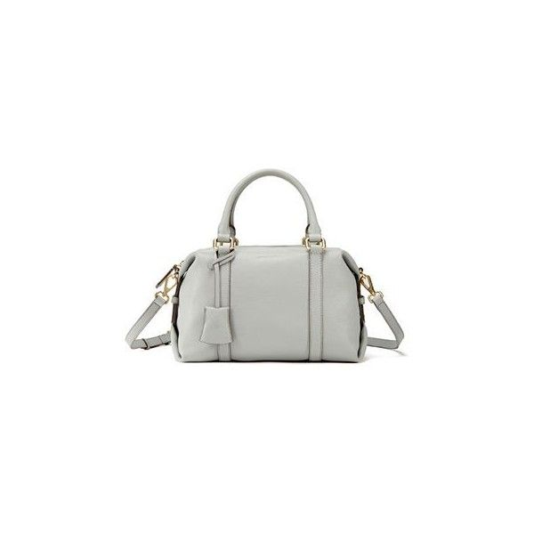Genuine Leather Boston Bag with Shoulder Strap (£120) ❤ liked on Polyvore featuring bags, handbags, shoulder bags, accessories, white handbags, leather shoulder handbags, shoulder strap bag, leather boston bag and white leather shoulder bag