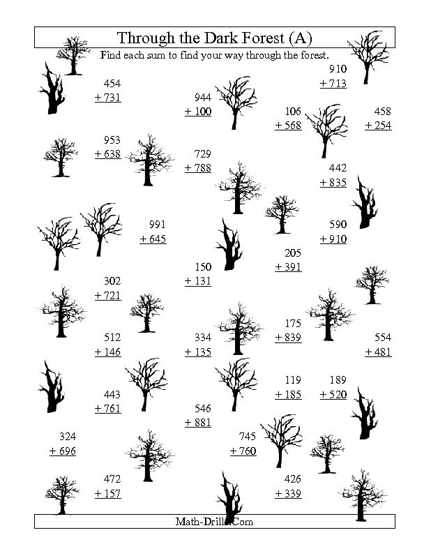 Halloween Math Worksheet -- Adding through the Dark Forest (Three ...