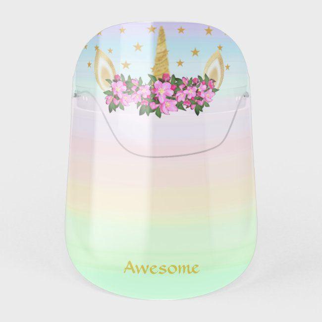 Unicorn, flowers, text & stars on pastel colors fa