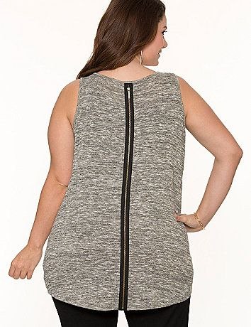 Zipper detailing is having a major moment on the fashion scene, and we've updated our shimmering metallic tank with this must-try trend. Trimmed with zippers at faux chest pocket and down the back with a flattering high-low hem and V-neckline, this semi-sheer tank layers beautifully with breezy linen construction - a summer favorite! lanebryant.com