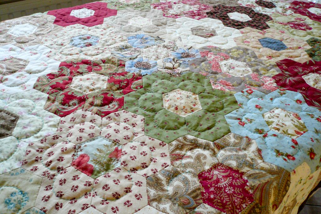 Hand quilted hexagons with images hexagon quilt