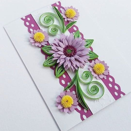 Handmade Greeting Card With Flower Birthday Card Mothers Day