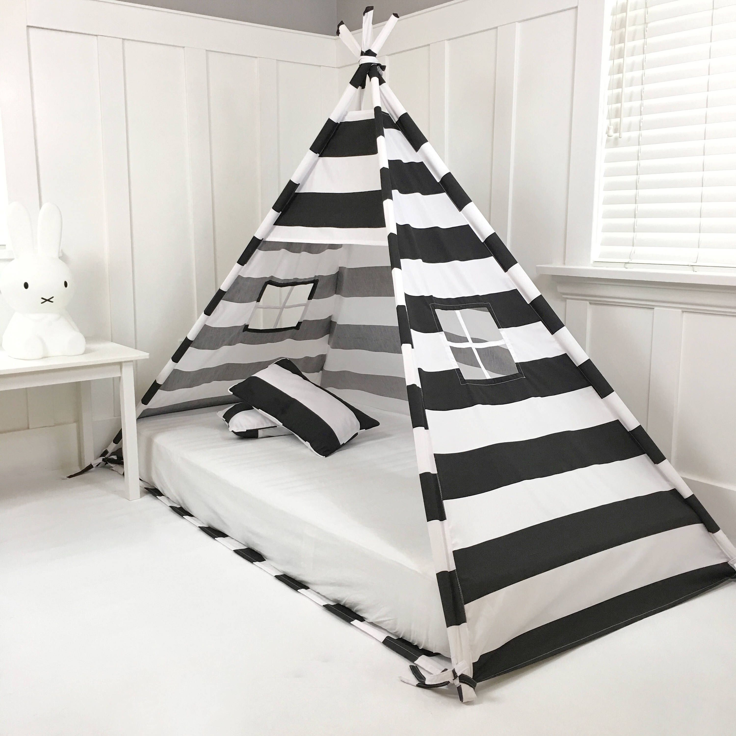 Play Tent Canopy Bed in Black and White Stripe by