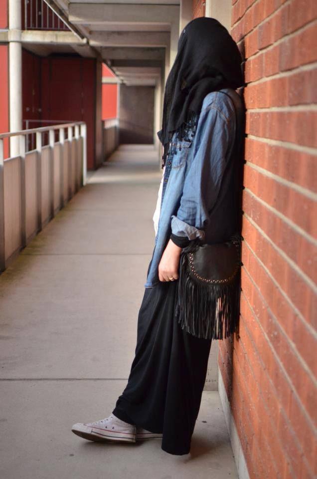 jupe longue + converse   Hijab fashion