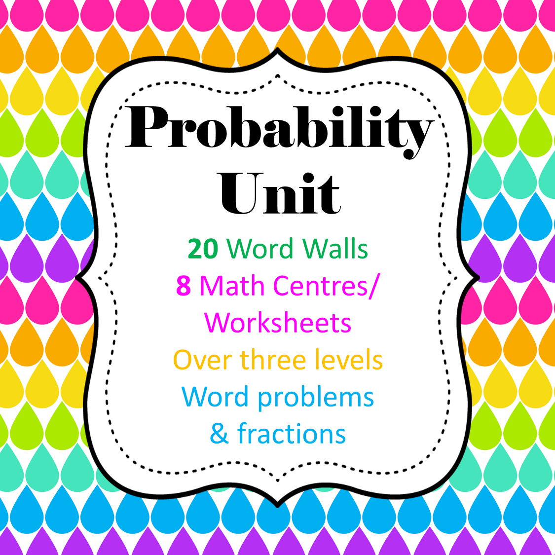 Probability WORD Unit - 8 Math Center/Literacy/ Worksheets ...