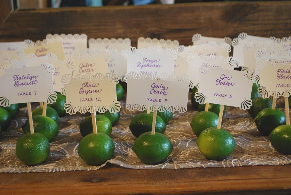 Lime placecards- Would be great for the food placecards. So cute! Could alternate between lemons and limes
