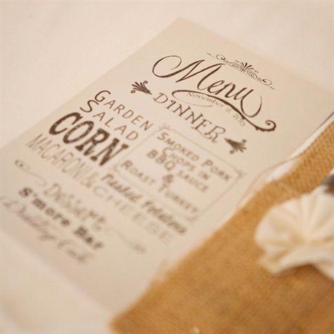Rustic Typographic Dinner Menu