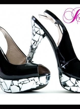 Mirror Glass Sling Back Custom High Heel Designs Peep Toe Shoes