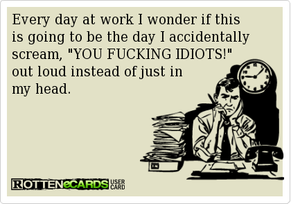 """Every day at work I wonder if this  is going to be the day I accidentally scream, """"YOU FUCKING IDIOTS!""""   out loud instead of just in   my head."""