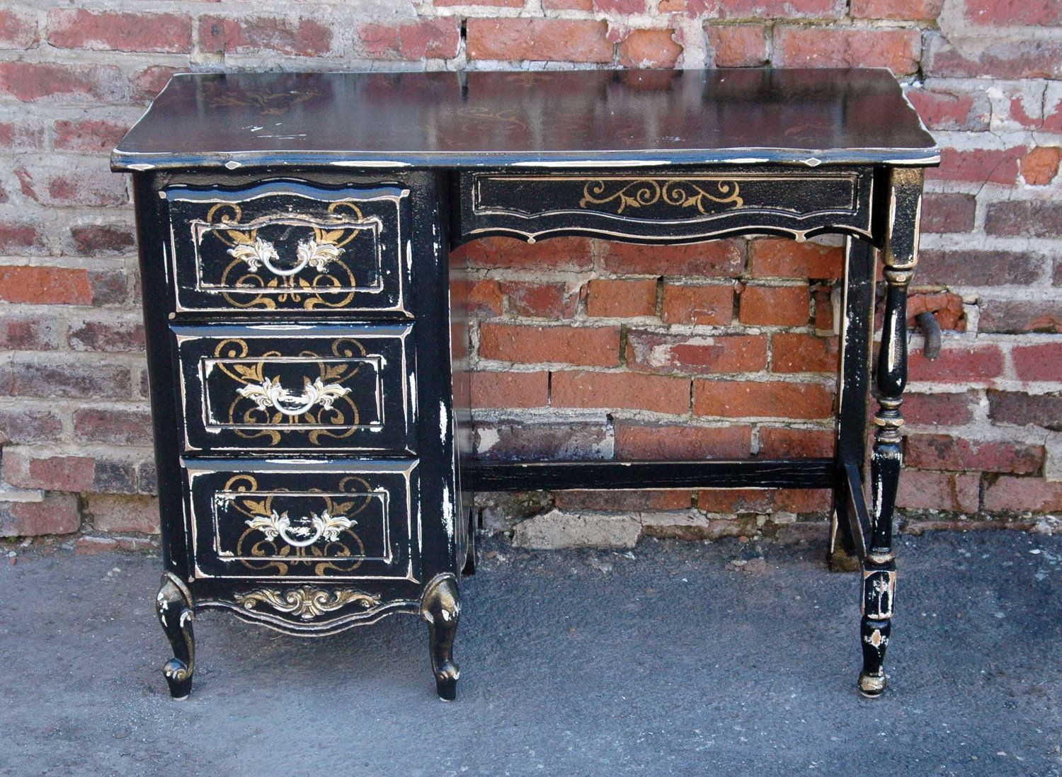 Painting furniture black distressed - Distressed Painted Furniture Antique Writing Desk With Black Finish And Gold Stencil 795 00