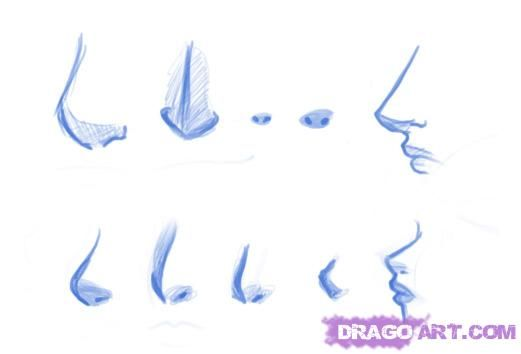 How to draw manga noses step 4