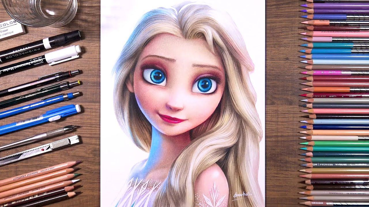 Drawing Frozen 2 Elsa Drawholic Youtube In 2020 Drawings Color Pencil Drawing Disney Colors