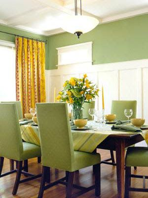 yellow curtains on green walls. love the oversized curtain | for