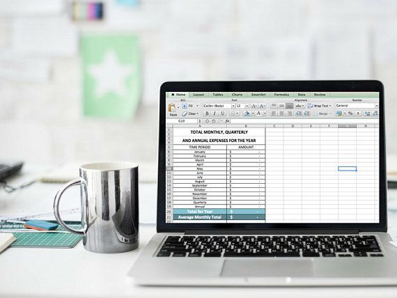 Annual Expense System Monthly Bill Tracker Excel Expense Tracker