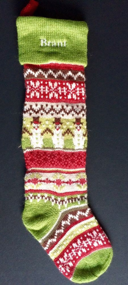 POTTERY BARN KIDS CLASSIC FAIR ISLE CHRISTMAS STOCKING *BRANT* GREEN ...