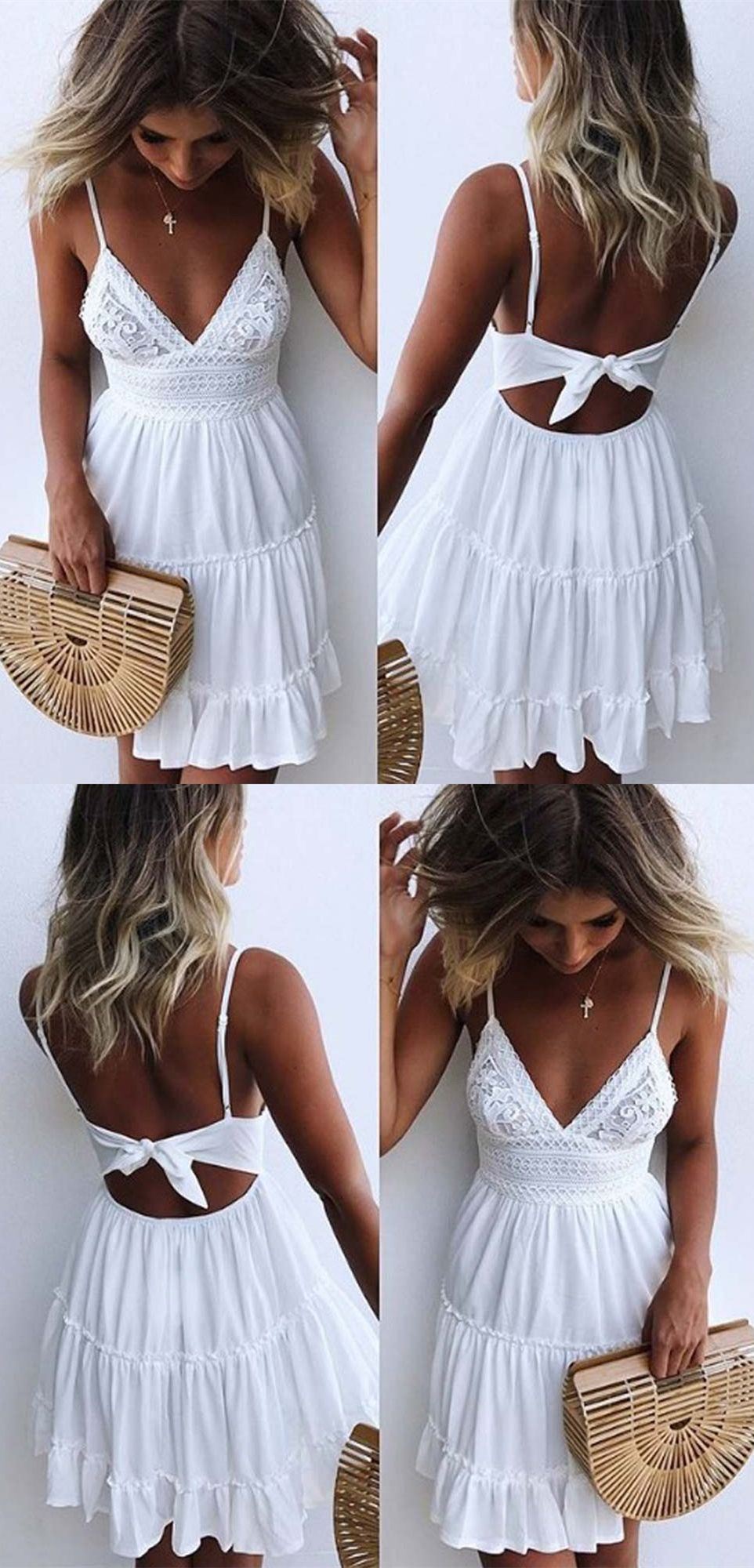 sexy white short lace homecoming dresses for teens, fashion spaghetti straps beach summer dress #summer