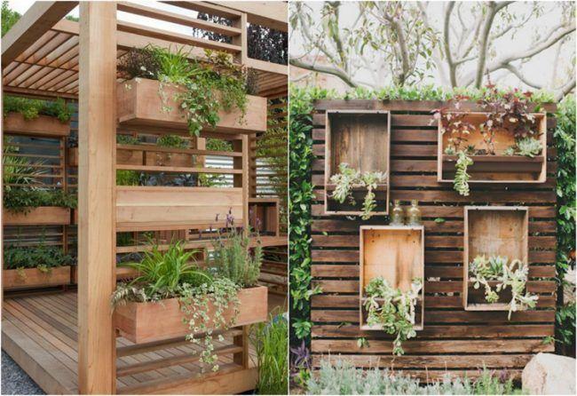 Ideen für den Garten sichtschutz-holz-pflanzkasten-deko Garten