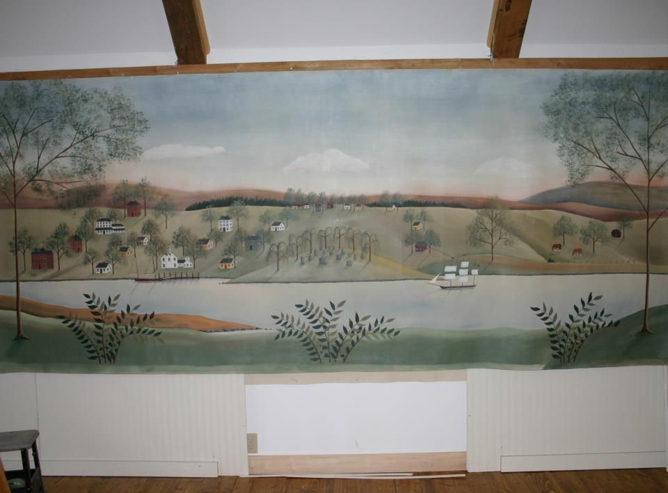 Mural by Lisa Curry Mair of Canvasworks Designs. This is Essex, CT, as it might have looked 150 years ago or so. The clients sent Lisa pictures of the town, their house, and details they wanted included. She painted a watercolor-on-canvas sketch for their approval, then went to work on the actual piece, which is about 5' X 12'. It will be going on their living room wall above a chair rail.
