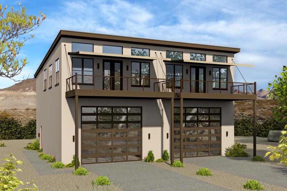 Modern Duplex House Plan with an RV Garage