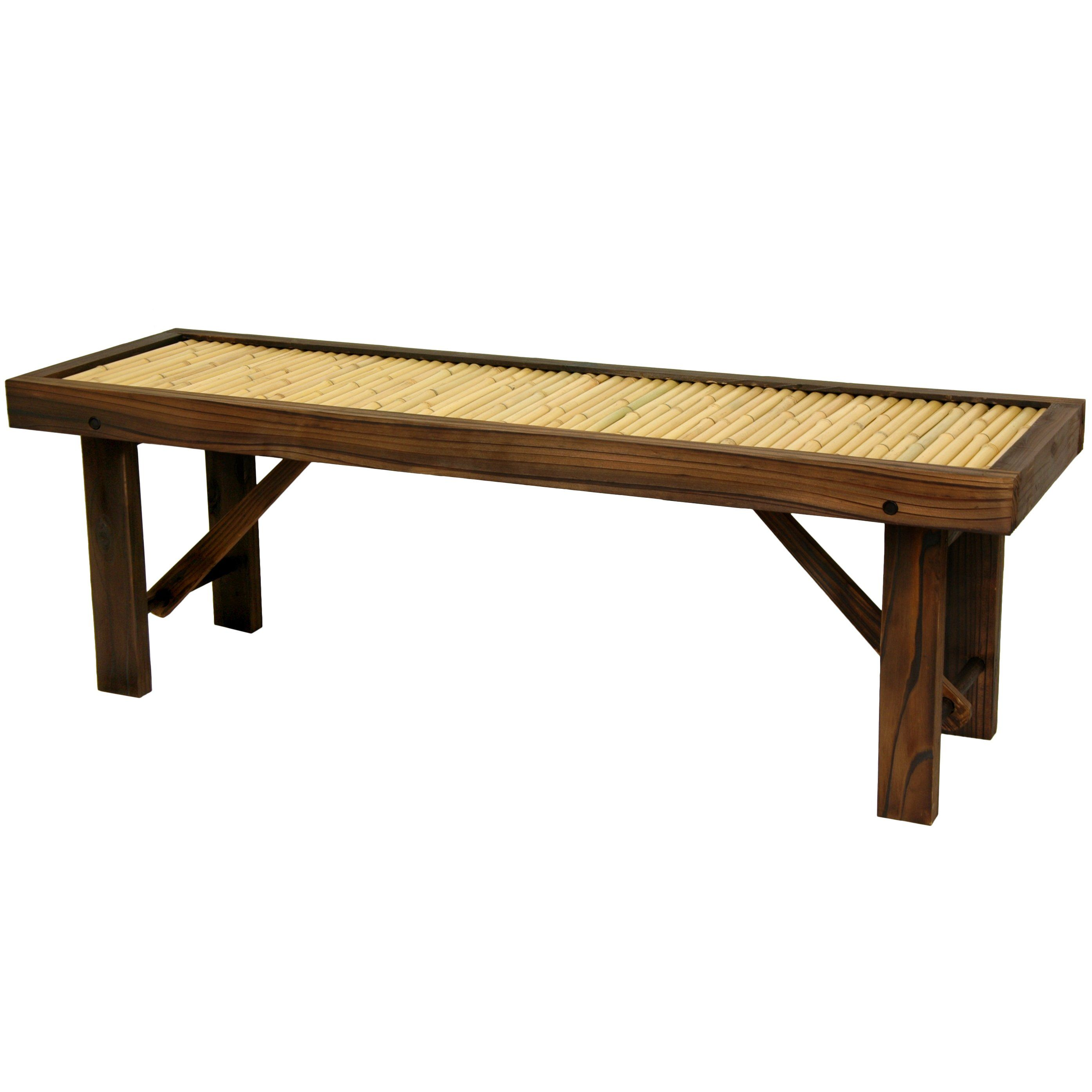 This flat japanese style bamboo bench is beautifully accented with dark walnut wood the kiln dried frame has sturdy block legs and extra center beam for