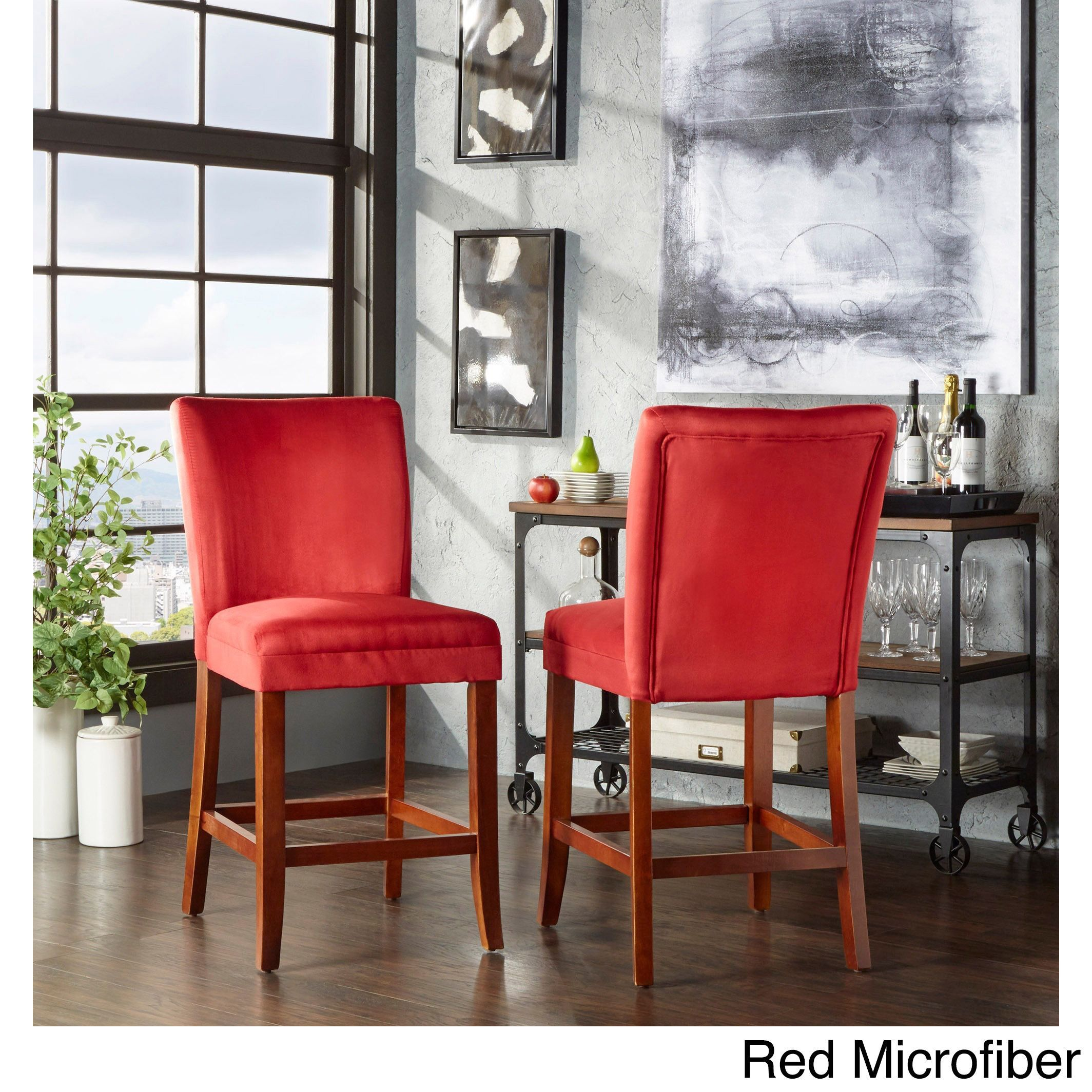 Parson Classic Upholstered Counter Height High Back Chairs By Tribecca Home  (Set Of 2) (Multi Colors Striped Fabric), Brown (Cherry), Durable