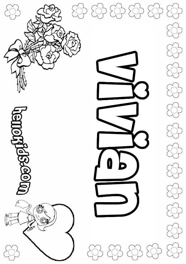 Girls Name Coloring Pages Vivian Girly Name To Color Name Coloring Pages Printable Flower Coloring Pages Printable Coloring Book