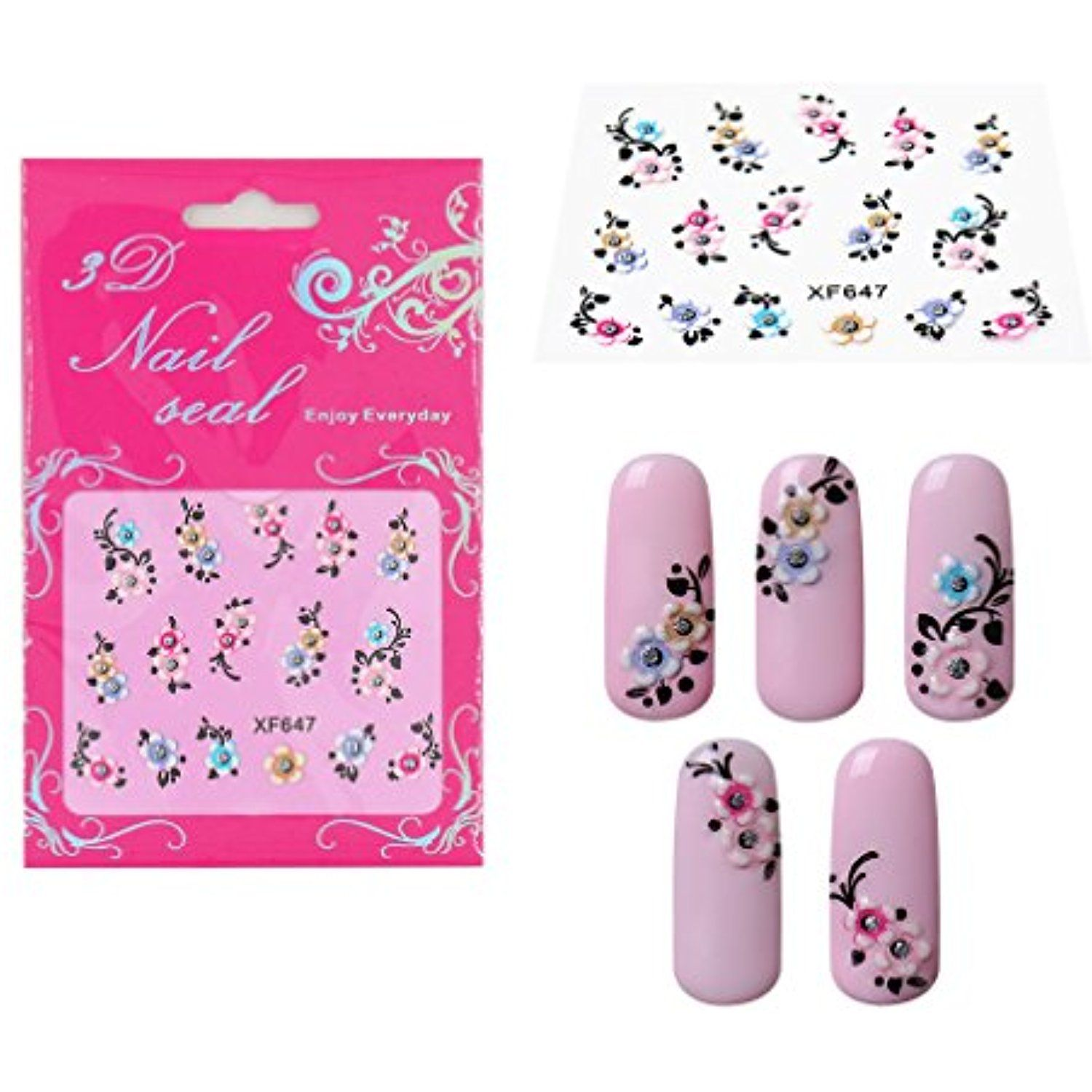 Elite99 3D Design Nail Art Stickers with Rhinestones Collection Tip ...