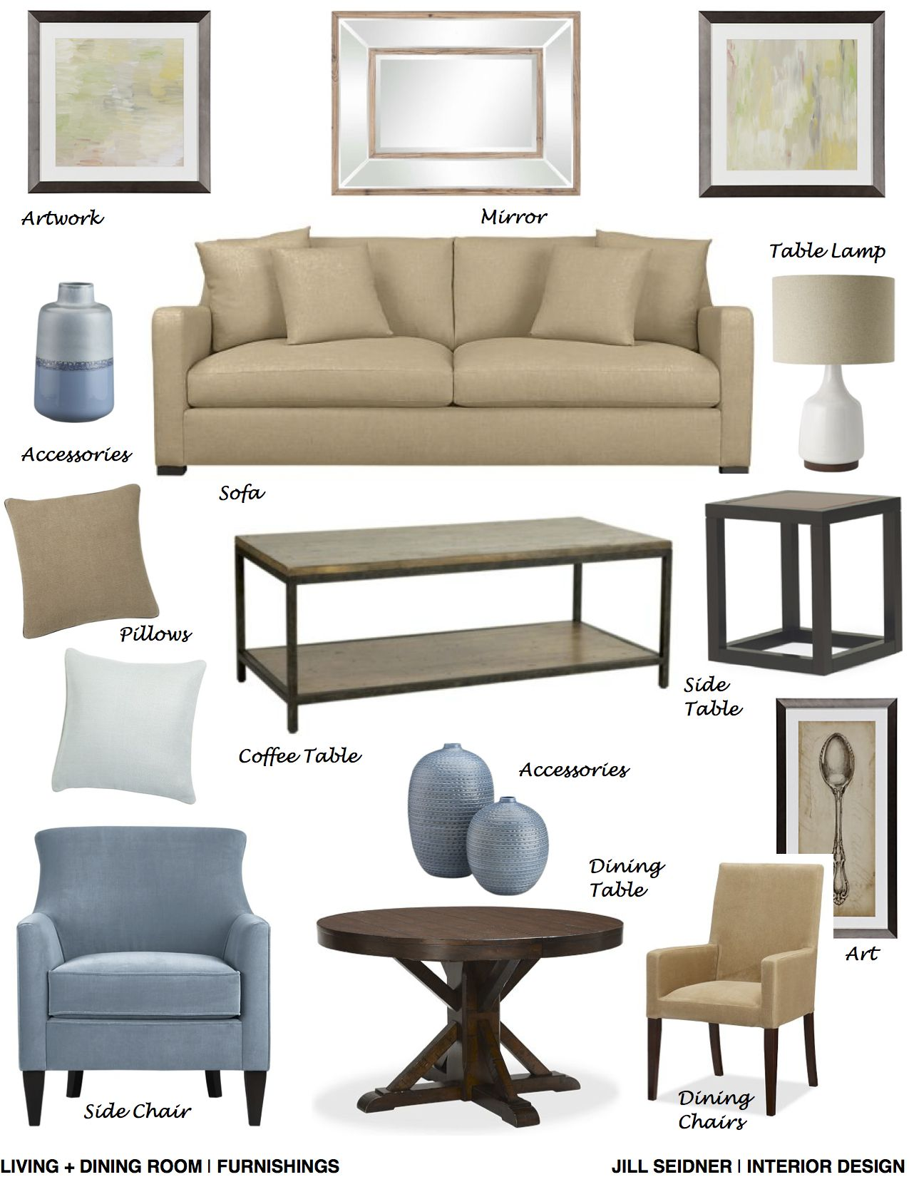 Silver Spring, MD Online Design Project Living + Dining Room Furnishings  Concept Board