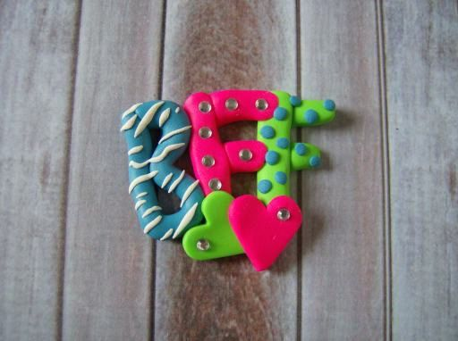 Polymer Clay Best Friends BFF m2m bow center by christinahdesign, $3.00