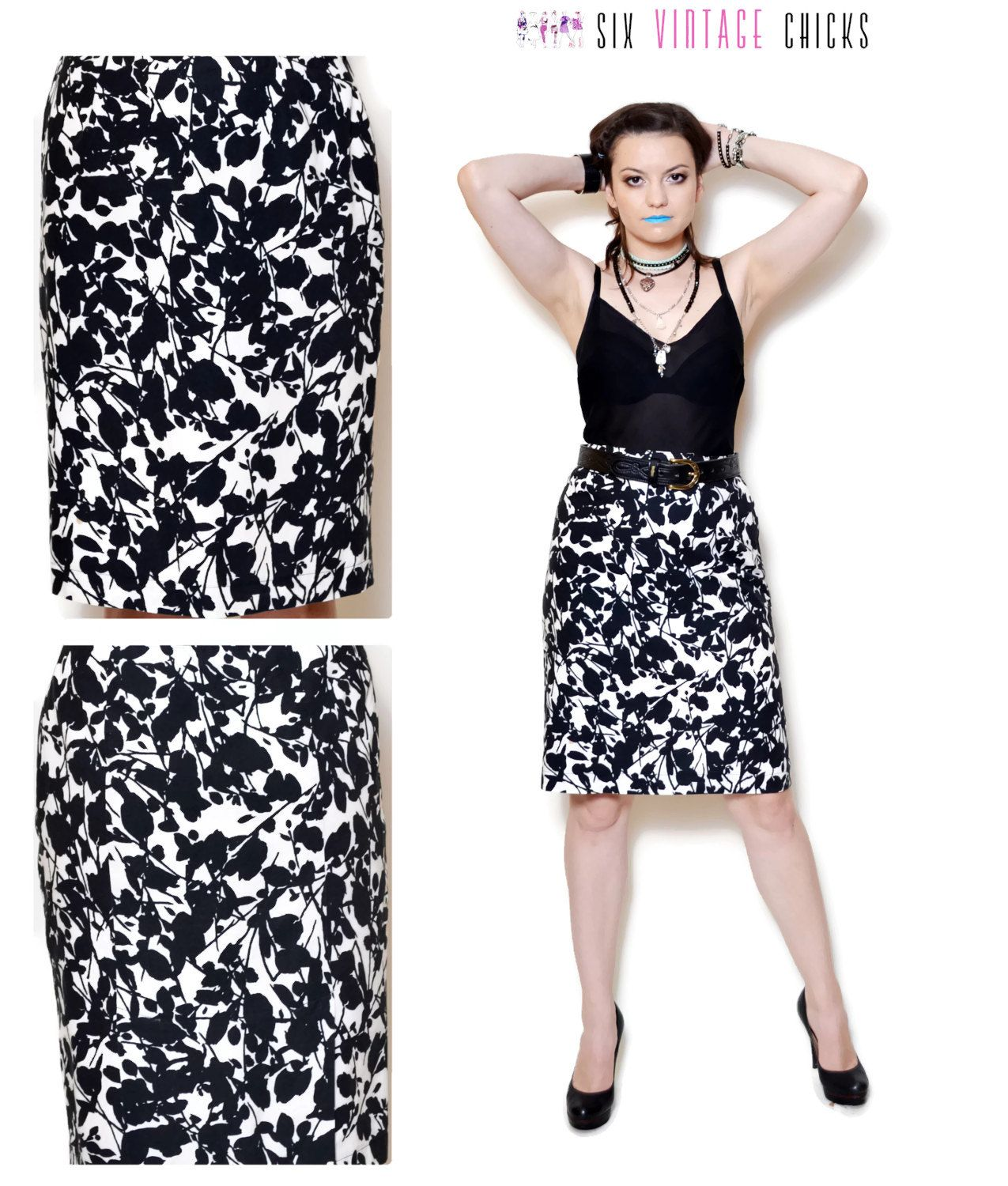 floral skirt Vintage Pencil Skirt high waisted skirt women ...
