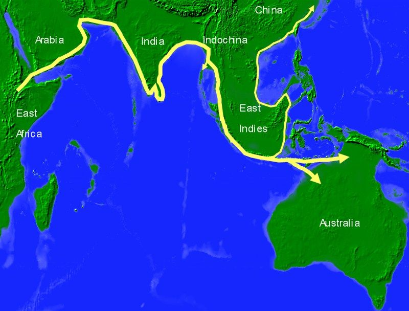Map Of Australia 50000 Years Ago.Aboriginal Migration Route To Australia 50 000 Years Ago It Is