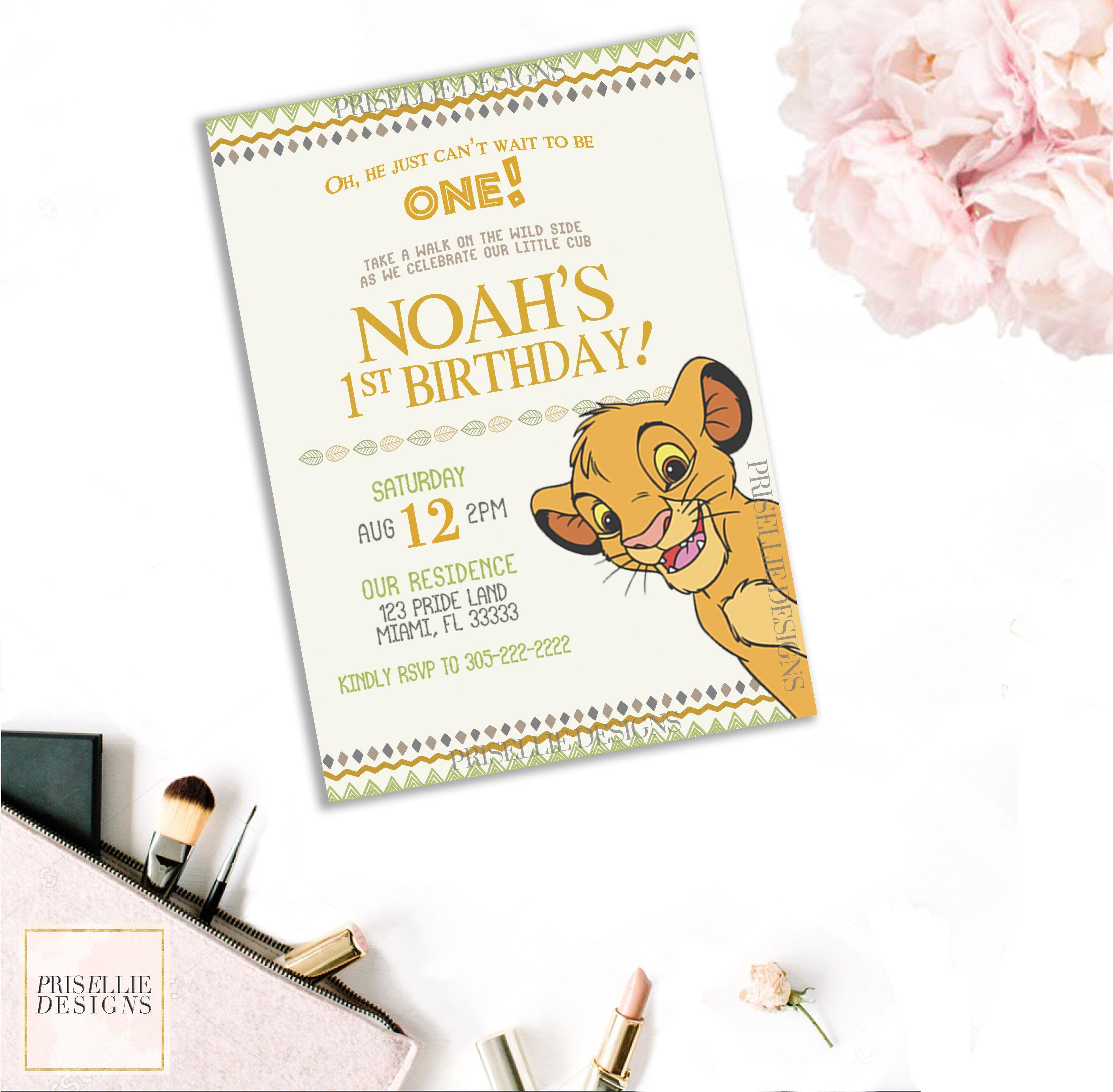 Simba Birthday Invitation, Lion King Birthday Invitation, The Lion ...