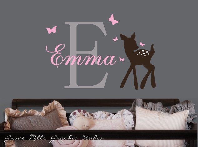 Baby Deer And Butterflies Custom Name And By Grovemillsgraphics