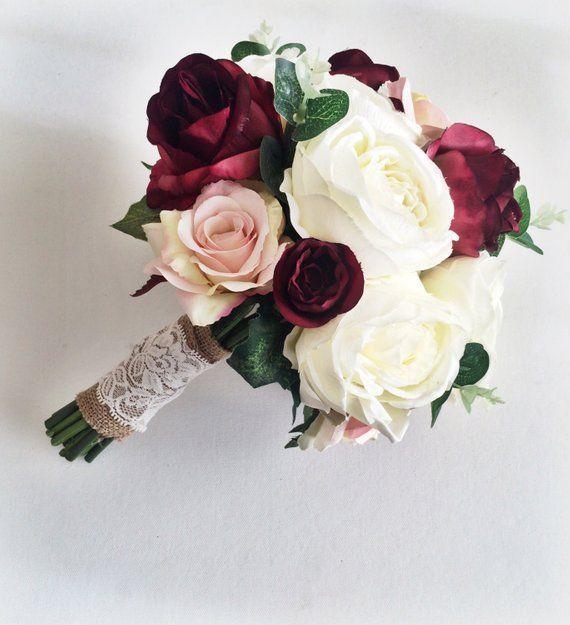 Seide Hochzeitsblumen / / Marsala Hochzeitsstrauß / / Brautstrauß / / künstliche Hochzeitsstrauß / / für immer Blumen / / rustikale Hochzeit – Blumen Blog