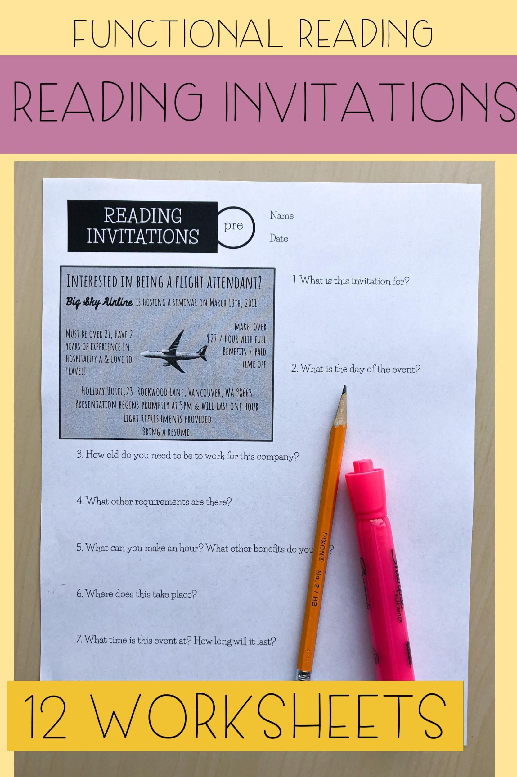 Reading Invitations Worksheets In