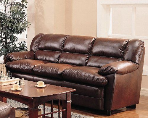 Harper Overstuffed Leather Sofa With