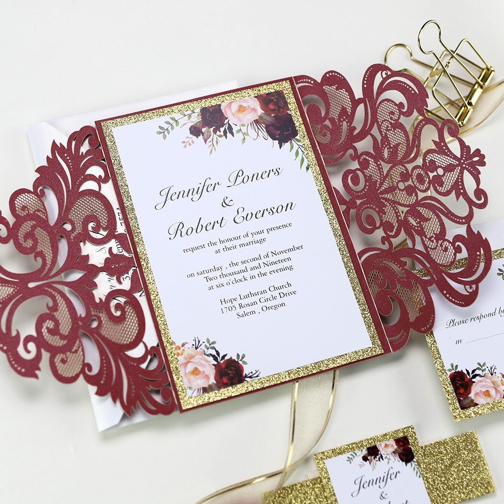 Invitation Wrap for Wedding DIY Invitations Quince Sweet Sixteen Lasercut. Laser Cut Belly Band Personalized Belly Band Glitter