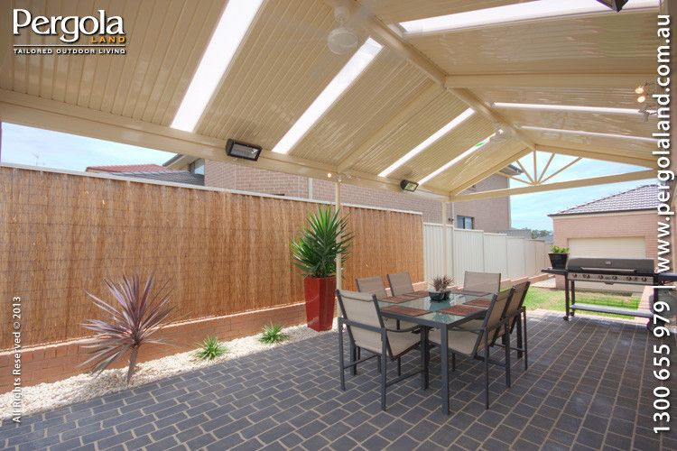 Gabled Colorbond Pergola With Lights Fan Added By Client Pergola Land Outdoor Home Improvement Pennant Hills N Pergola Lighting Pergola Outdoor Pergola