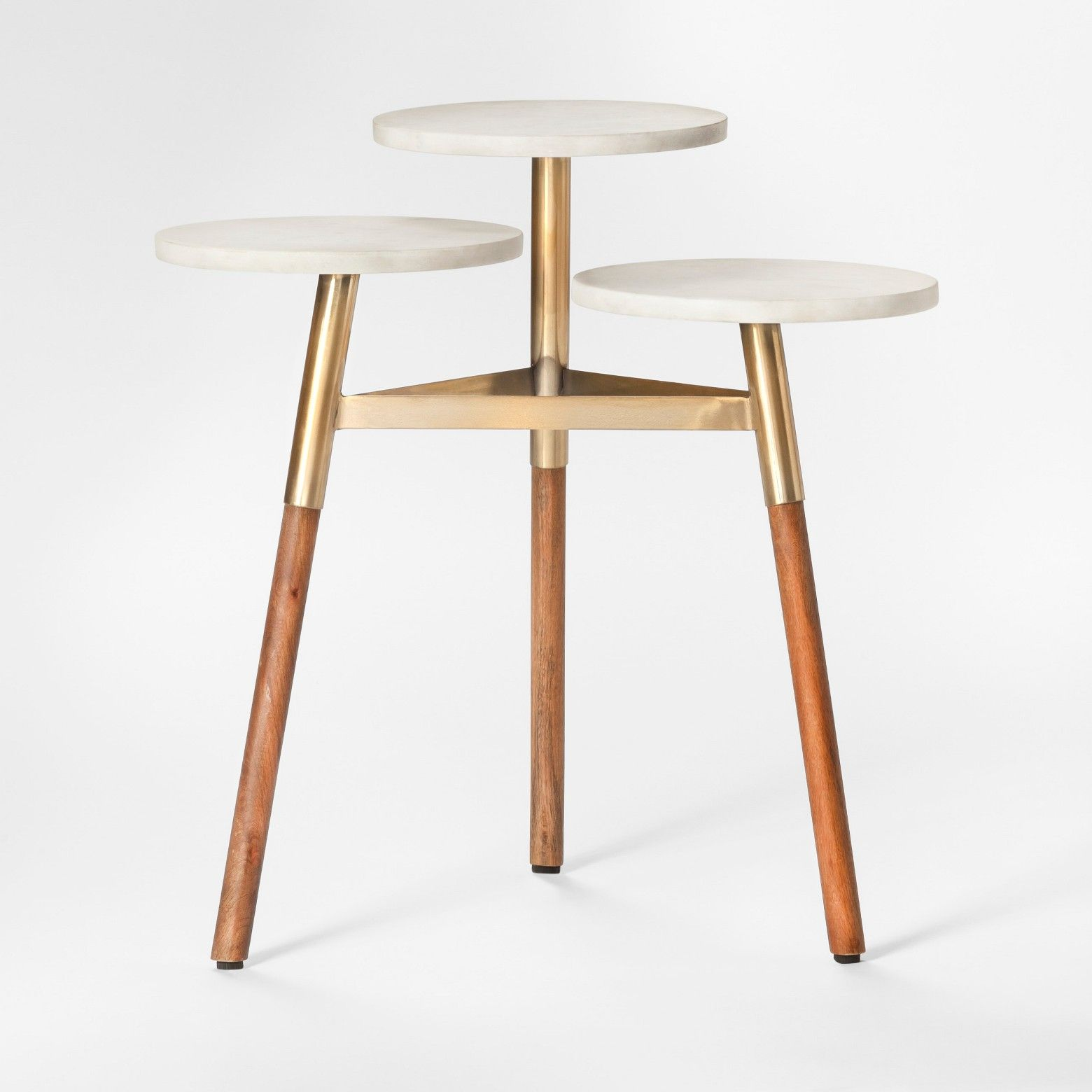 Add Some Unique And Modern Style To Your Favorite Space With The Three Tiered Marble Accent Table From Proje Marble Accent Table Wood Accent Table Accent Table