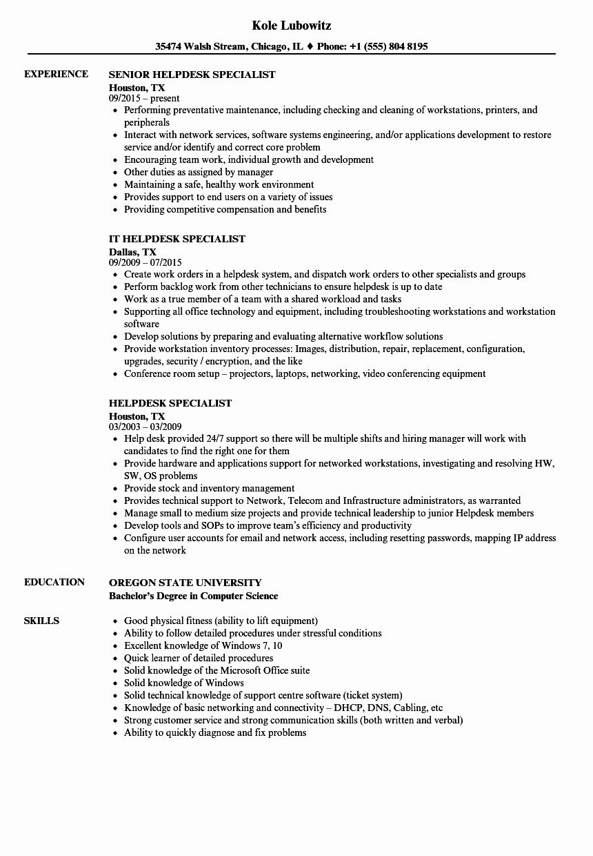 Help Desk Job Description Resume Elegant Helpdesk