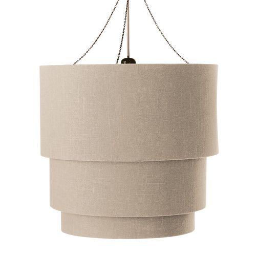Lampada a sospensione tripla non elettrificata beige in cotone D 40 cm TAMBOUR