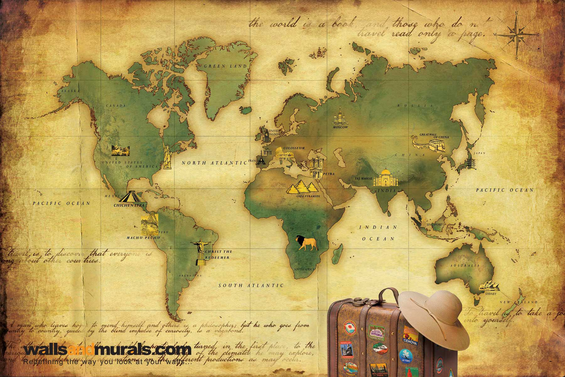 Vintage World Map Wallpaper | Maps Wallpaper | Pinterest | Custom ...
