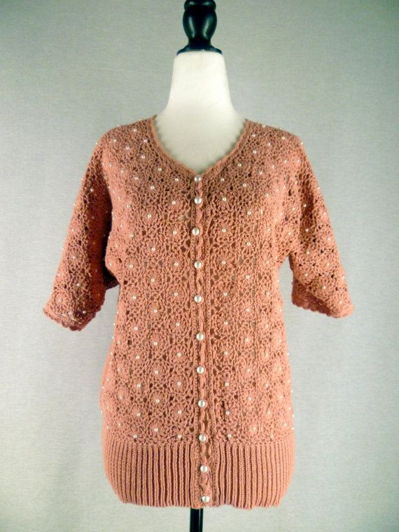 1980's Hand Knitted Cardigan with Pearl Buttons and by ReliveRetro