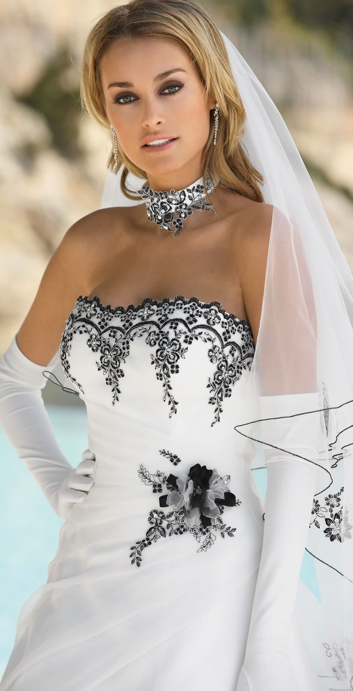 Wedding Dress With Black Lace Accents From Ladybird Fashion Dresses Black Wedding Dresses [ 2402 x 1229 Pixel ]